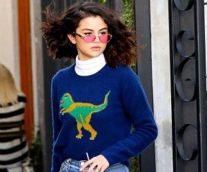 selena gomez dinosaur sweater by coach